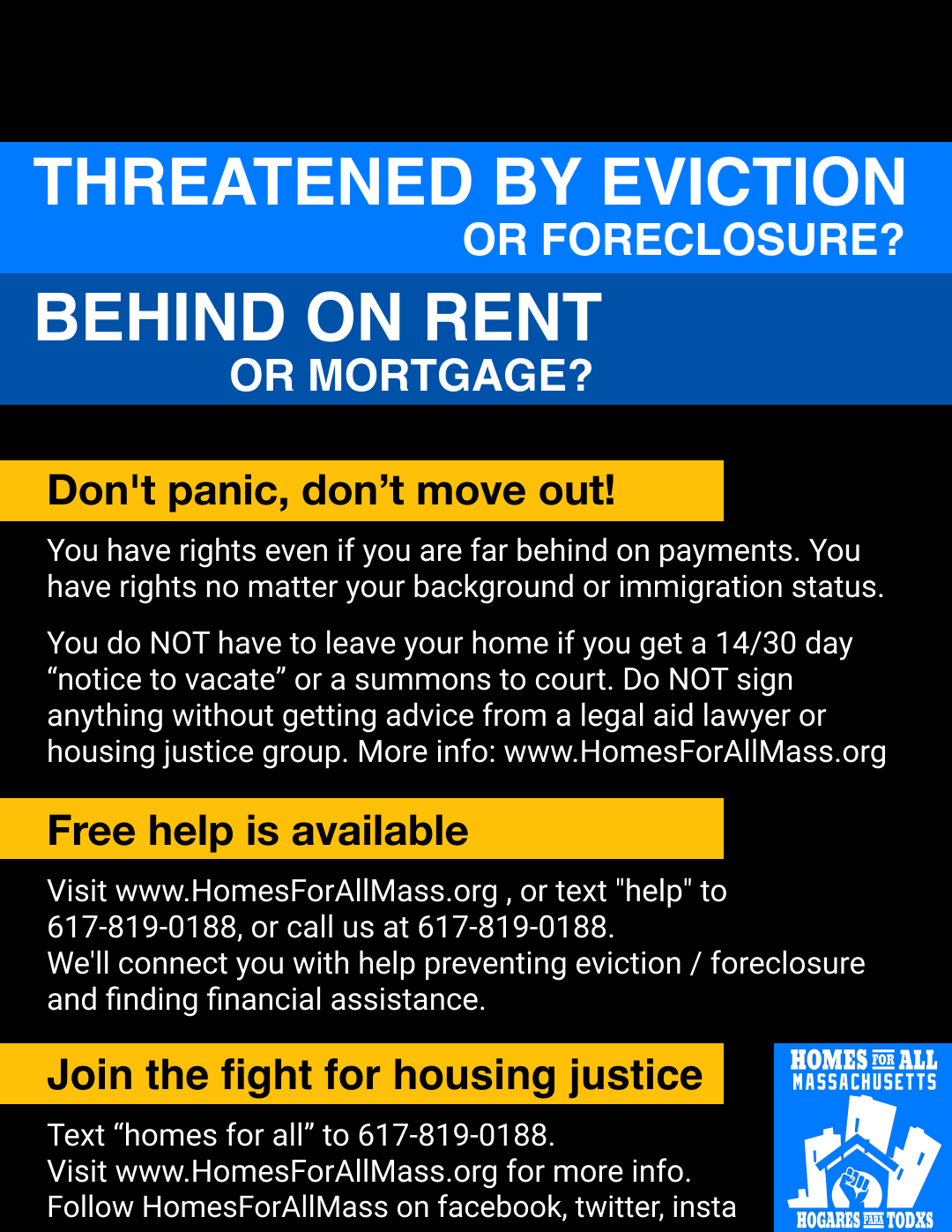 flyer about rights of tenants and homeowners following end of eviction moratorium